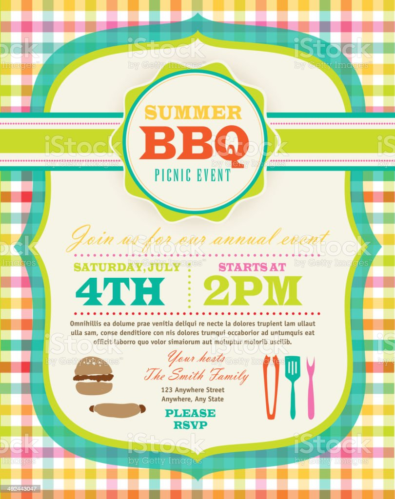 Cute pastel colored Picnic or BBQ invitation design template royalty-free stock vector art