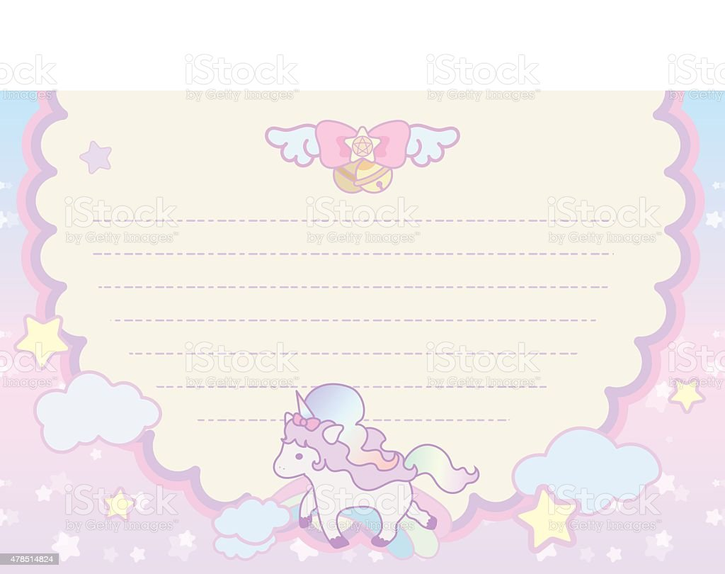 cute pastel magical lovely unicorn rainbow cloud letter template