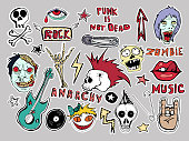 Cute  patches and stickers collection. Punk is not dead. Hand drawn sketches. Lips skull pins guitar stars arrows red eyes rock symbols zombies scary dead man vinyl record hand written tag lines.
