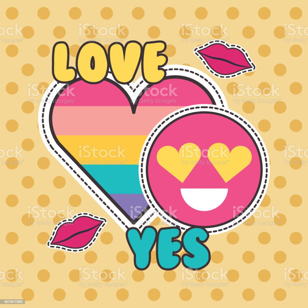 cute patches badge love yes heart smile fashion vector art illustration