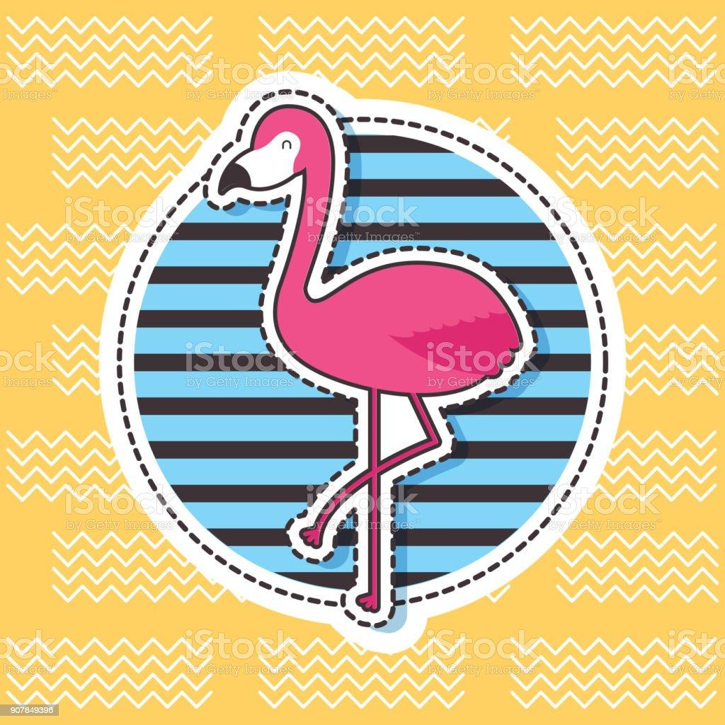 cute patches flamingo round badge stripes fashion vector art illustration