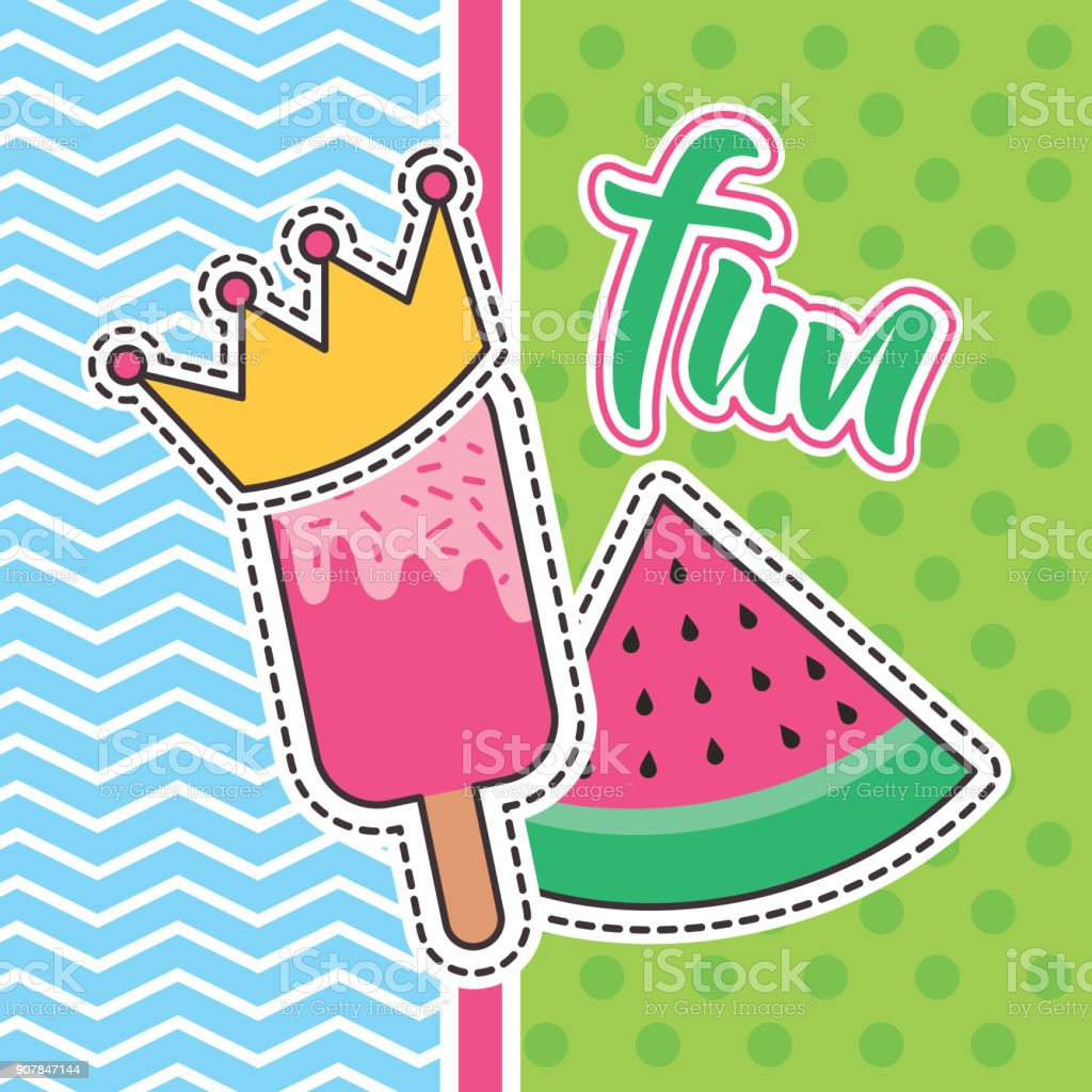 cute patches fun lollipop and watermelon badge fashion vector art illustration