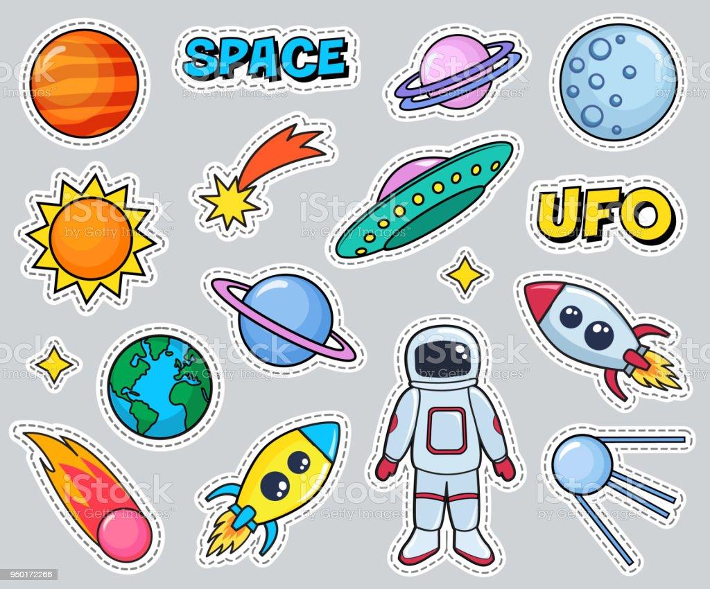スペース宇宙飛行士惑星太陽地球ロケット宇宙船でかわいいパッチ セット