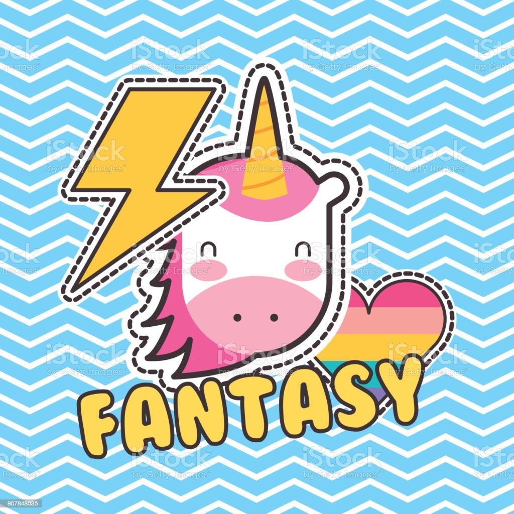 cute patches unicorn heart love fantasy badge fashion vector art illustration