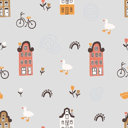 Cute pattern inspired by Dutch houses.