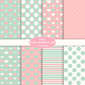 Cute pattern set. Hearts background. Valentine day design. Pink, blue colors. Retro style. Vector.