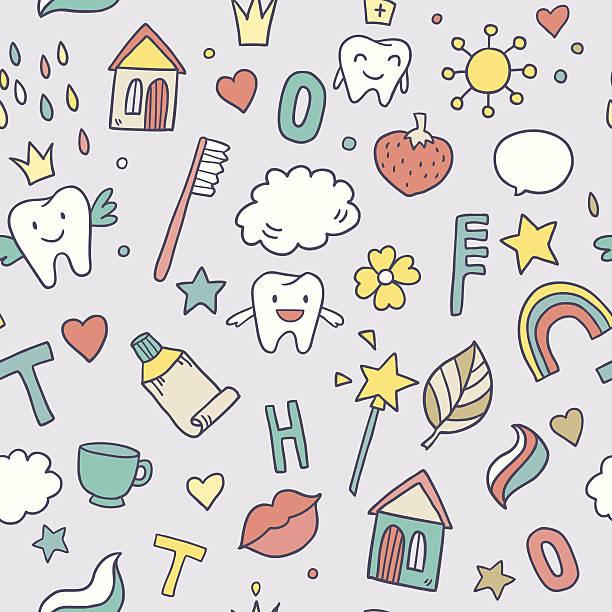 Cute pattern with fairy magic teeth vector art illustration