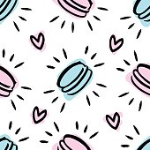 Cute pattern with macaroon and with hearts.