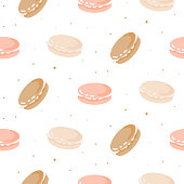 Cute pattern with macaroon cookies. Seamless vector bakery sweet design.