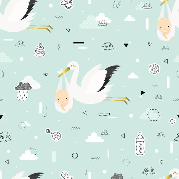 Cute pattern with storks Baby shower. Cartoon storks  with babies. Cute vector seamless pattern. All elements are  hidden under mask. Pattern are not cropped and can be edited. baby shower stock illustrations