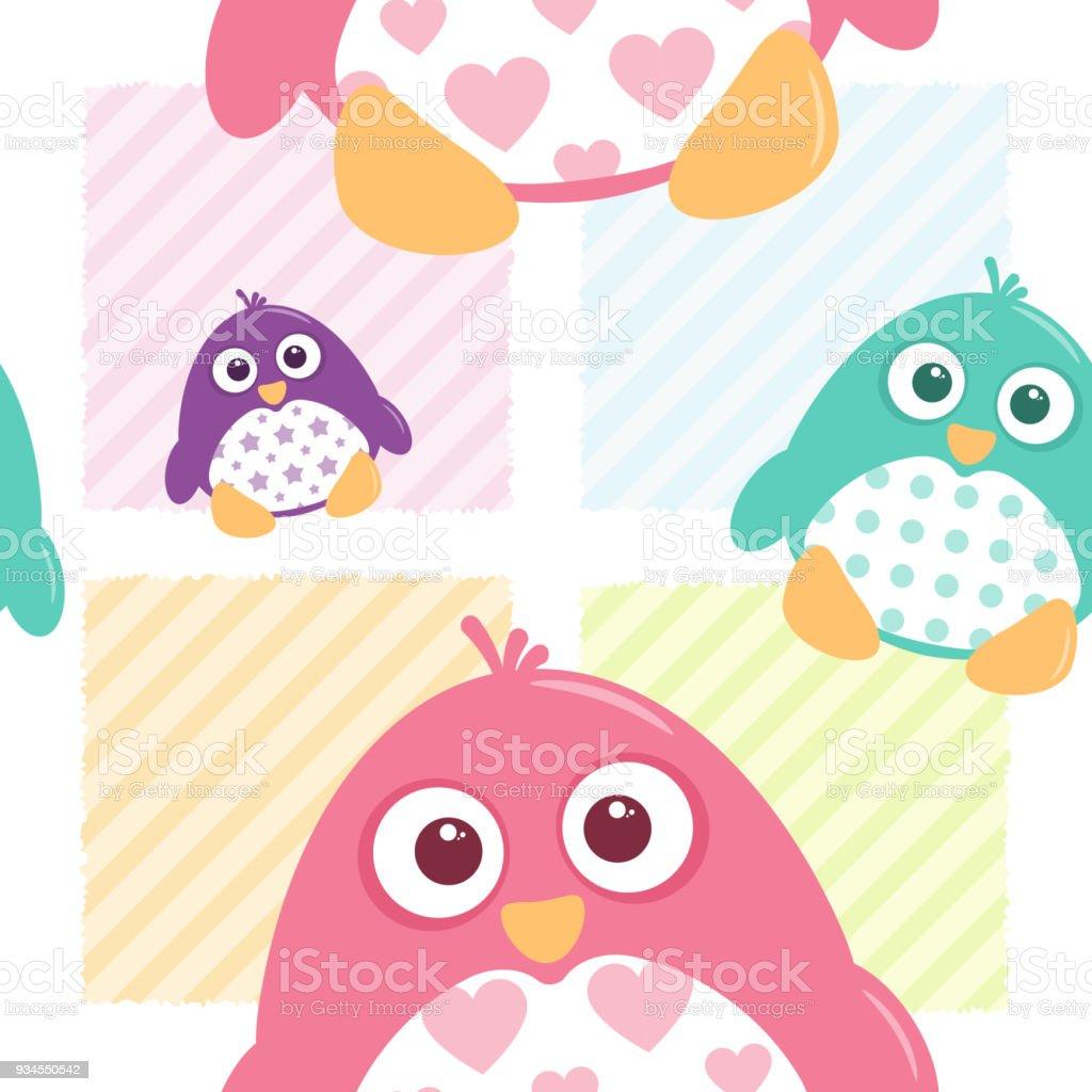 Cute Patterned Penguins Seamless Tile vector art illustration