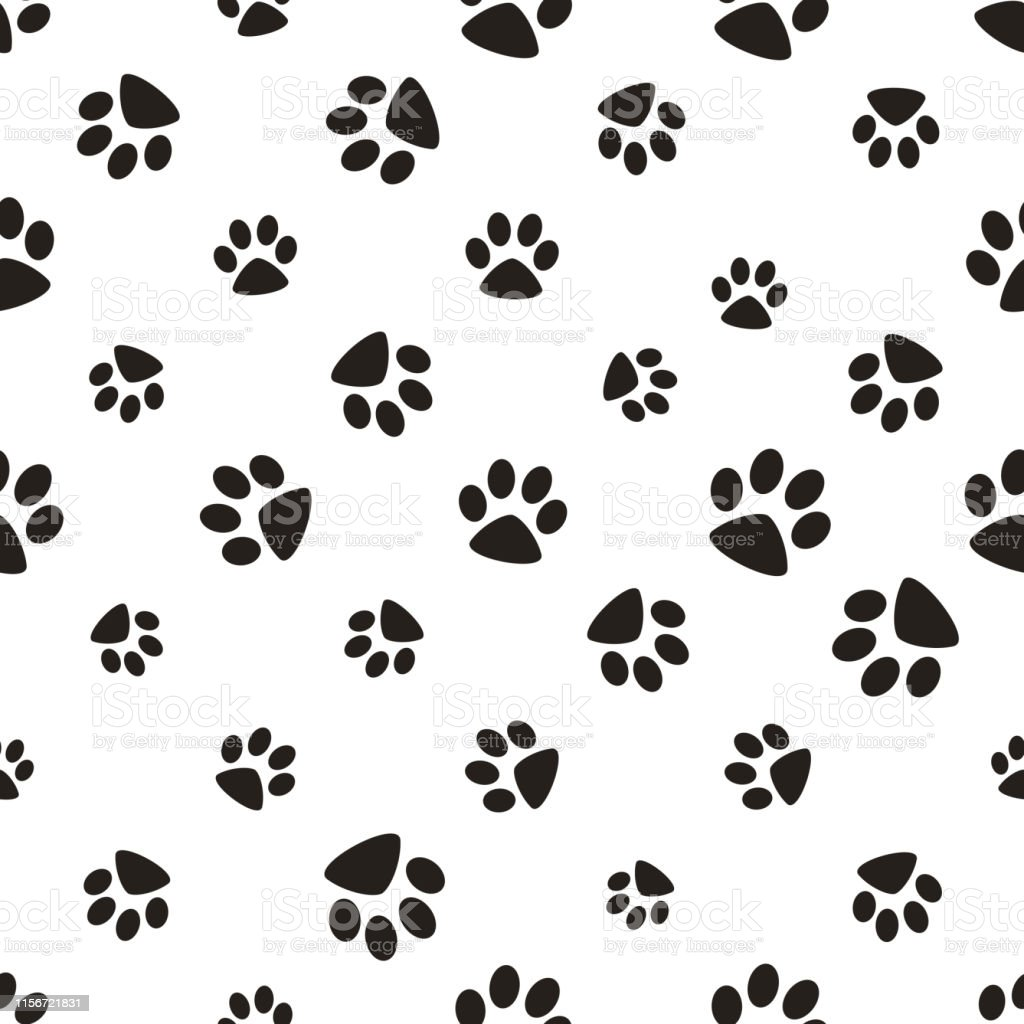Cute paw seamless pattern, cat feet steps, pet design. Texture for...