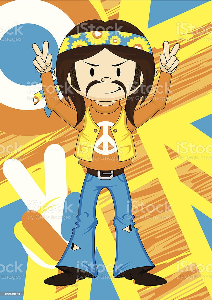 Cute Peace Sign Hippie Boy vector art illustration