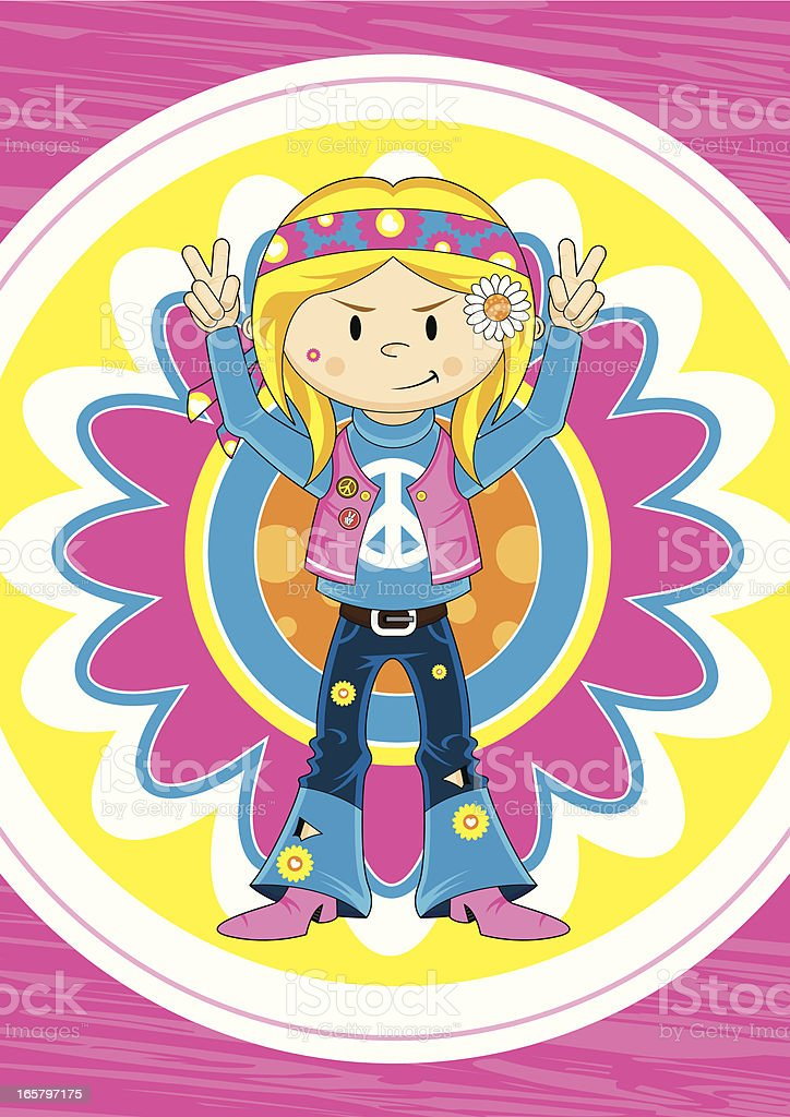 Cute Peace Sign Hippie Chick vector art illustration