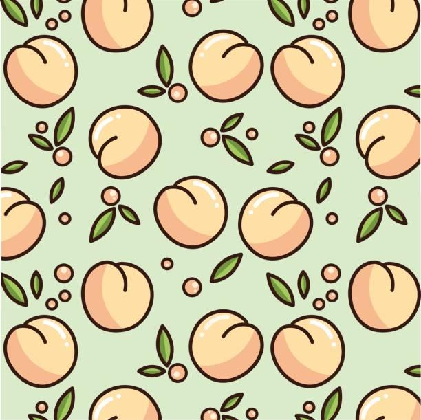 illustrazioni stock, clip art, cartoni animati e icone di tendenza di cute peach pattern. - pesche bambino