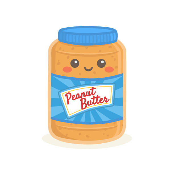 stockillustraties, clipart, cartoons en iconen met schattig pindakaas fles jar vector illustratie cartoon glimlach - pinda voedsel