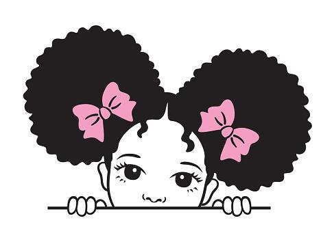 Cute Peekaboo Girl with Afro Puff Hair