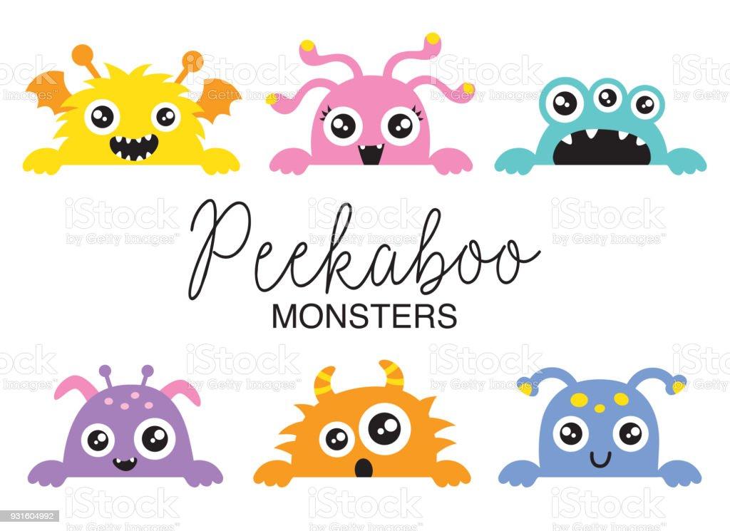 Cute Peekaboo Monsters Vector Illustration