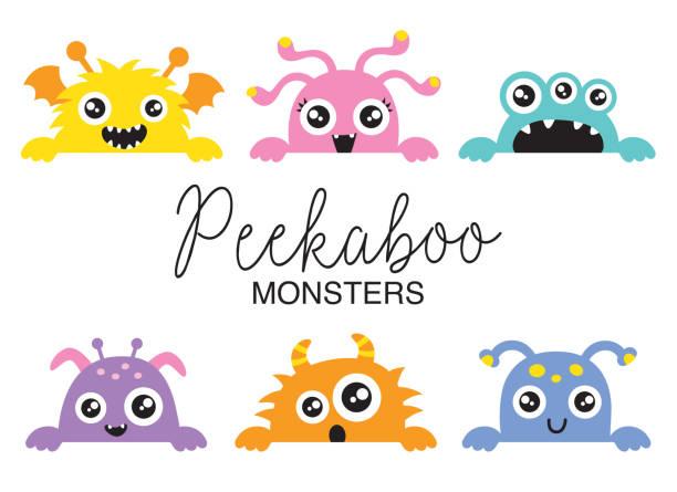 ilustraciones, imágenes clip art, dibujos animados e iconos de stock de ilustración de vector de monstruos lindo del peekaboo - monstruo