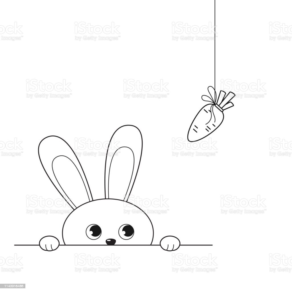 Cute peeking bunny looking at hanging carrot royalty-free cute peeking bunny looking at hanging carrot stock illustration - download image now