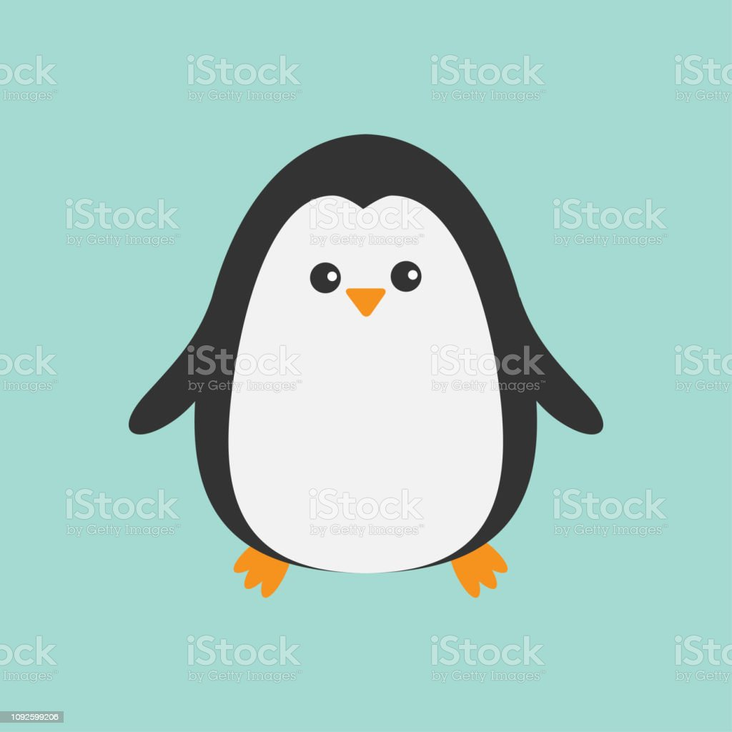 Cute penguin. Cartoon character. Arctic animal collection. Baby bird....