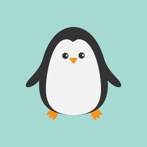 cute penguin. cartoon character. arctic animal collection.  baby bird. flat design - penguin stock illustrations