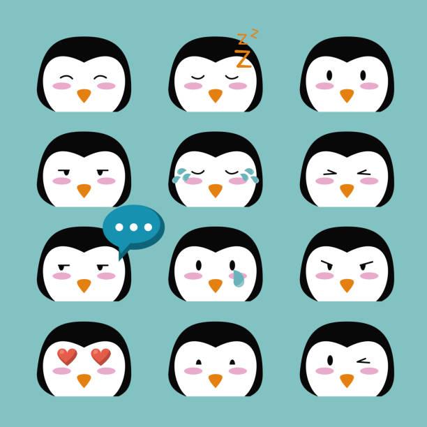 Niedlichen Pinguin Cartoon Symbole – Vektorgrafik