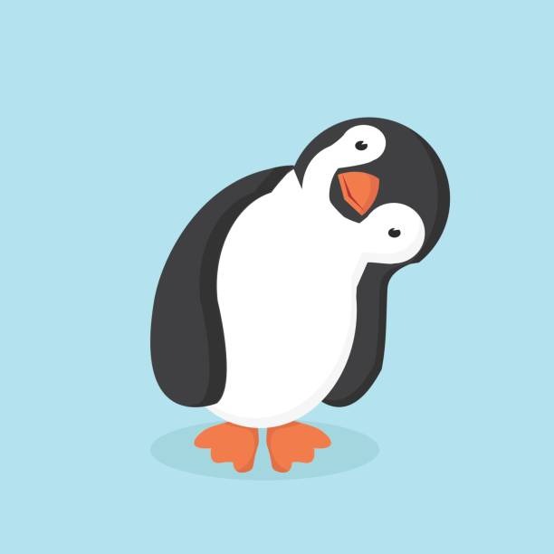 cute penguin cartoon - penguin stock illustrations