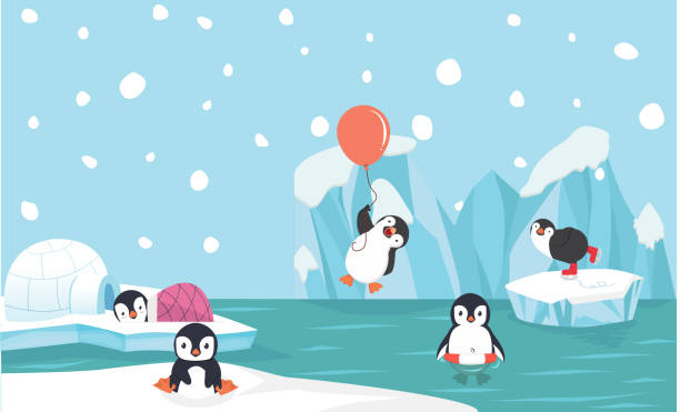 Cute penguin characters  set withNorth pole  background Cute penguin characters  set withNorth pole  background penguin stock illustrations