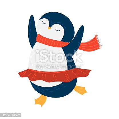 istock Cute penguin dancing. Raster illustration in flat cartoon style 1212314822