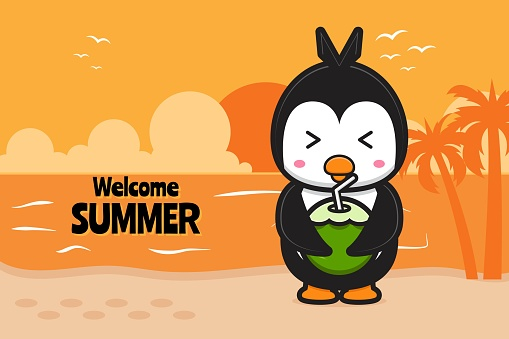 Cute penguin drink coconut with a summer greeting banner cartoon vector icon illustration.