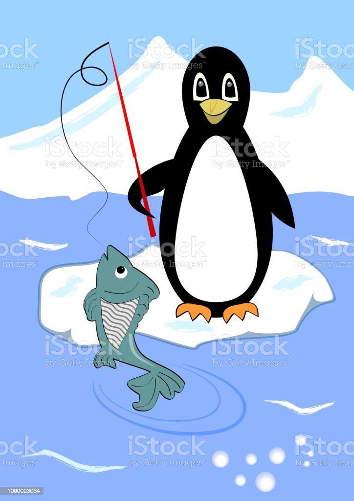 Niedlichen Pinguin Angeln Auf Scholle Pinguin Cartoon Mit Grünen