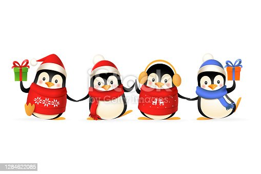 istock Cute penguin friends celebrate winter holidays - vector illustration isolated on white background 1284622085