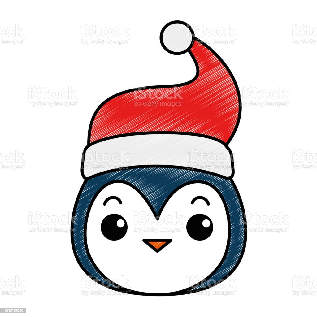 Ilustración de Cabeza De Lindo Pingüino Con Sombrero De Navidad ...