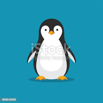 istock Cute penguin icon in flat style. 868646936