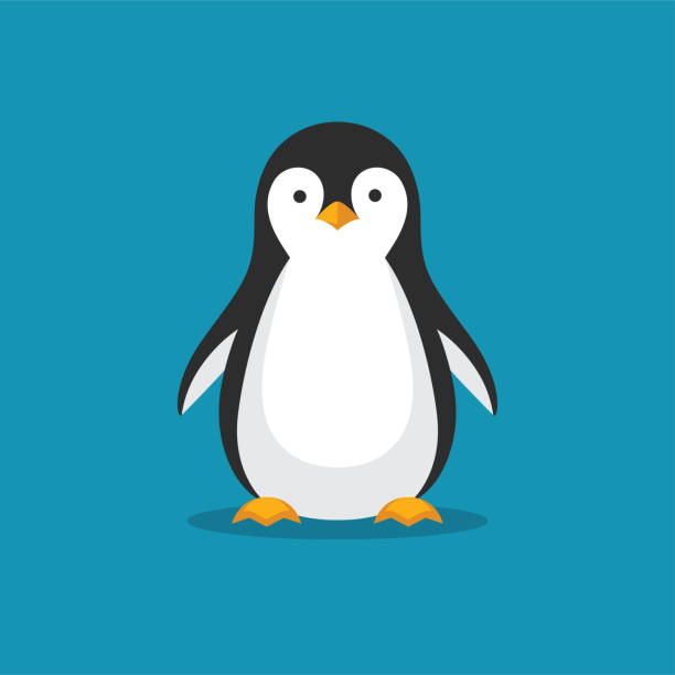 cute penguin icon in flat style. - penguin stock illustrations