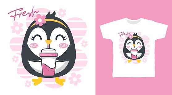 Cute penguin illustration t-shirt design vector