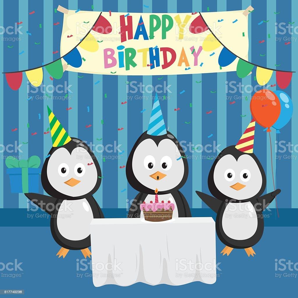Niedlich Pinguin In Geburtstag Partei Mit Freunden Stock Vektor Art