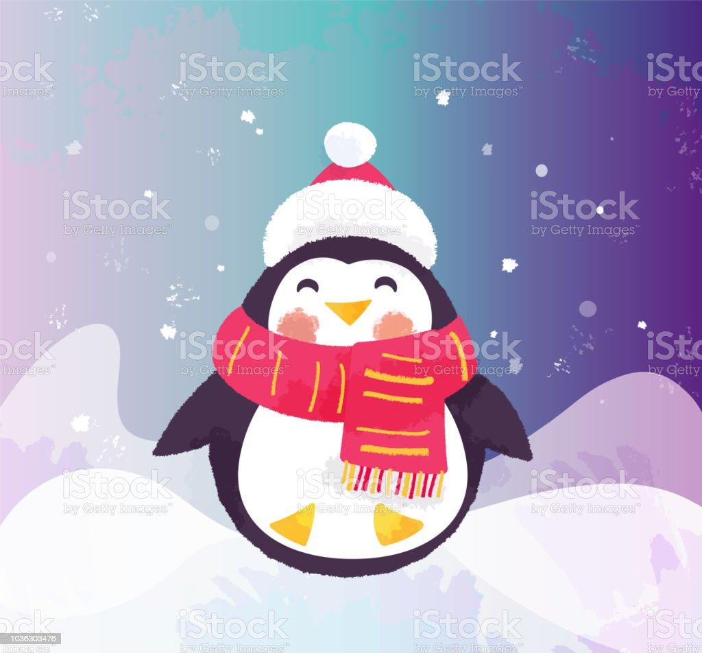 かわいいペンギンの帽子とスカーフ冬イラスト お祝いのベクターアート