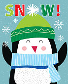 Cute Penguin in snowing,cute Christmas character,vector illustration