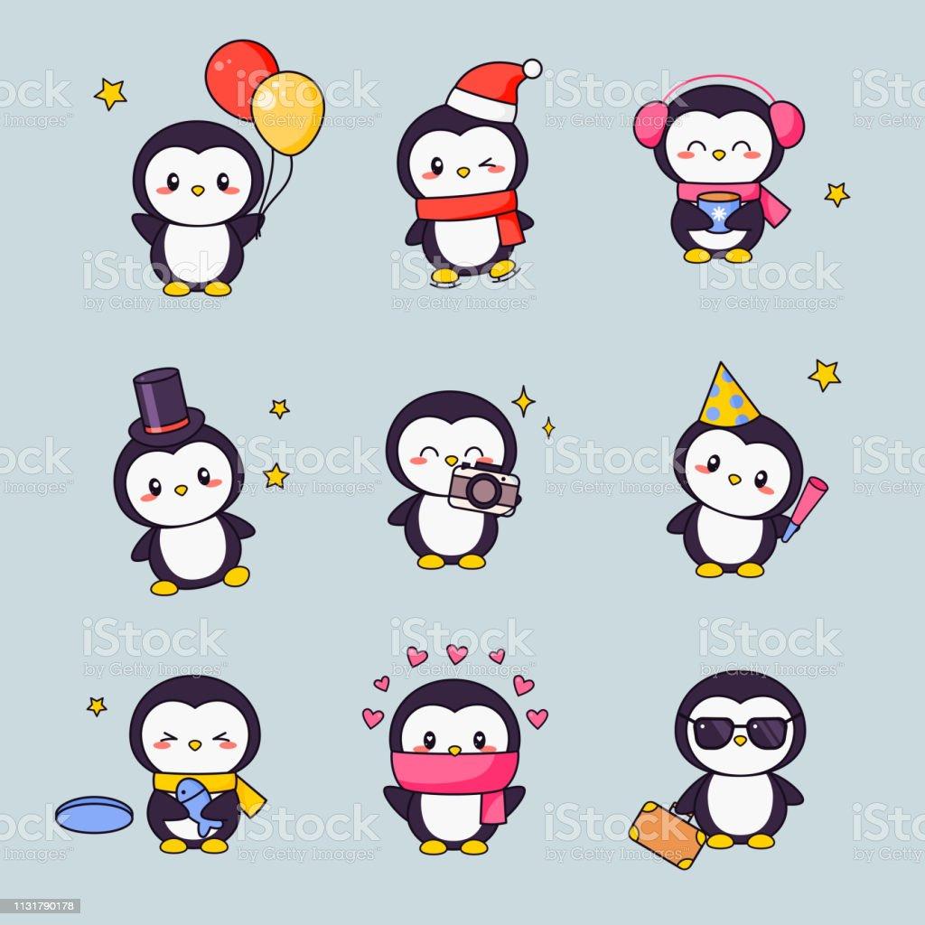 Pingouin Mignon Kawaii Clipart Autocollant Ensemble Oiseau