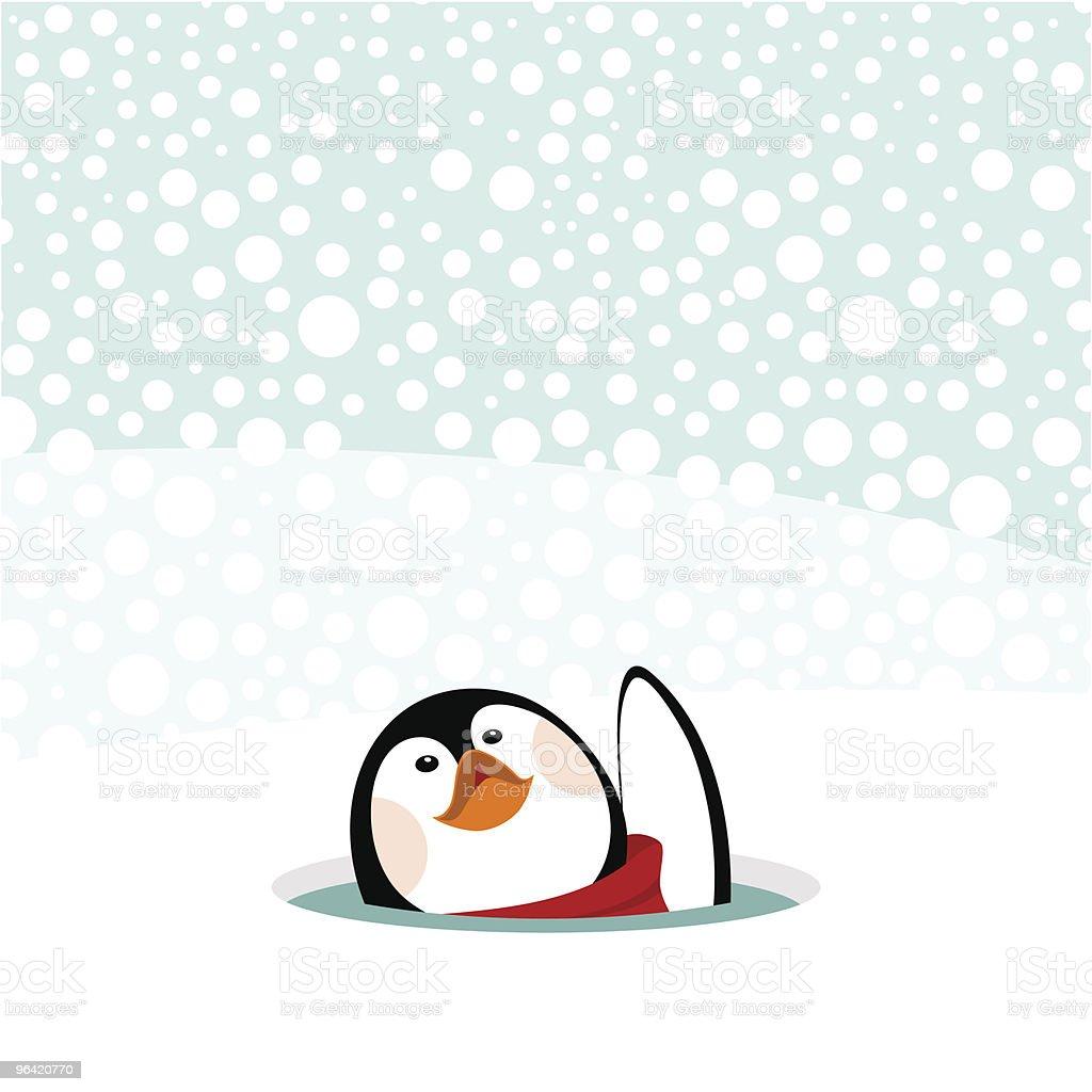 かわいいペンギン雪の冬クリスマスカード - イラストレーションの
