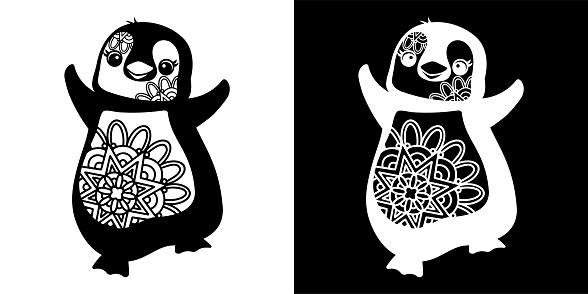 Cute Penguin Mandala Doodle art  isolated on white and Black background. Winter Animal Concept Design. For t shirt, greeting card or poster Background Vector Illustration.