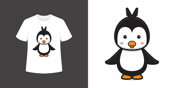 Cute penguin mascot character t shirt style and trendy clothing design print, vector illustration.