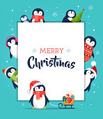 Cute penguin - Merry Christmas greeting card, poster