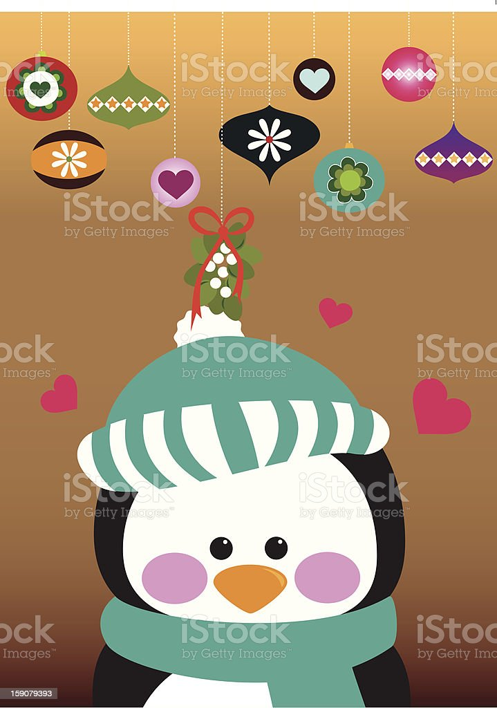 Cute penguin under mistletoe. vector art illustration