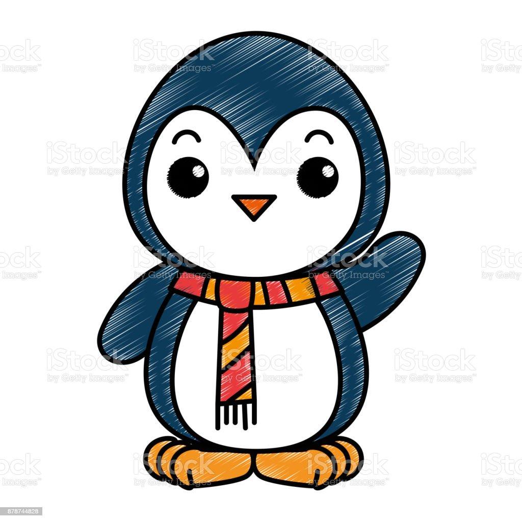 Immagini Natalizie Kawaii.Cute Penguin With Christmas Scarf Kawaii Immagini Vettoriali Stock