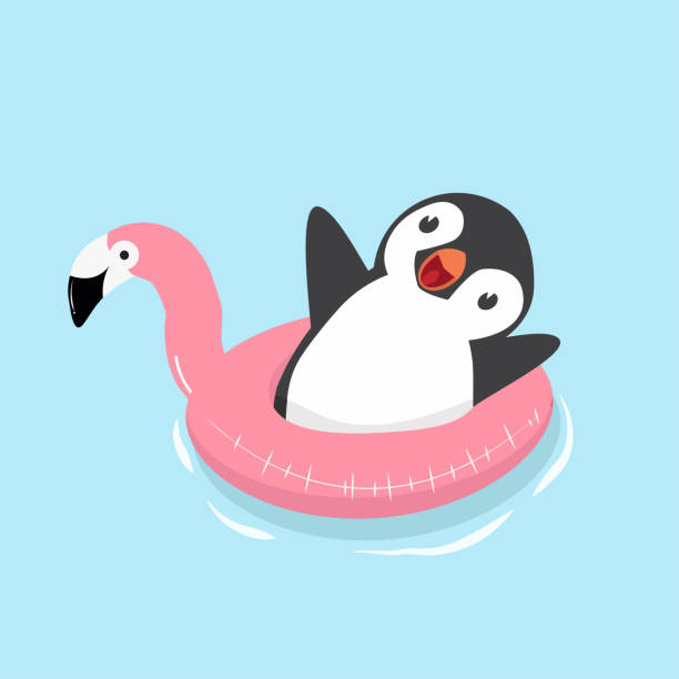 cute penguin with flamingo float - penguin stock illustrations
