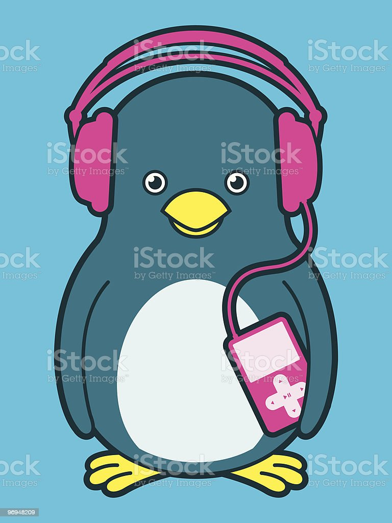 Cute penguin with pink music player and headphones royalty-free cute penguin with pink music player and headphones stock vector art & more images of animal
