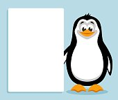 Template for your text. Cartoon  character on blue background. Place your text on blank sheet. Flat style. Colorful vector illustration.